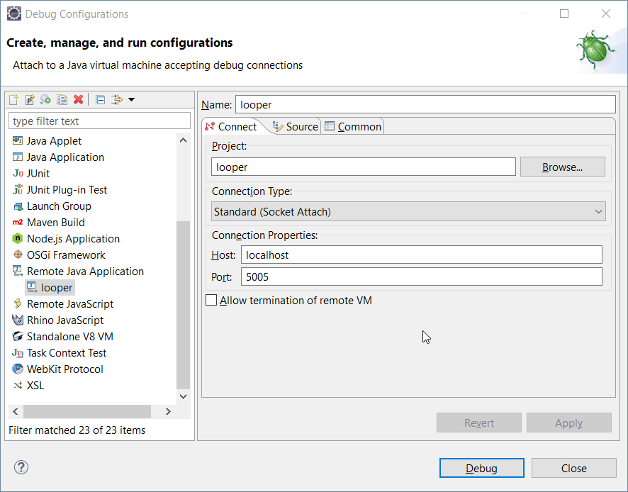 Eclipse - Remote Java Application Settings