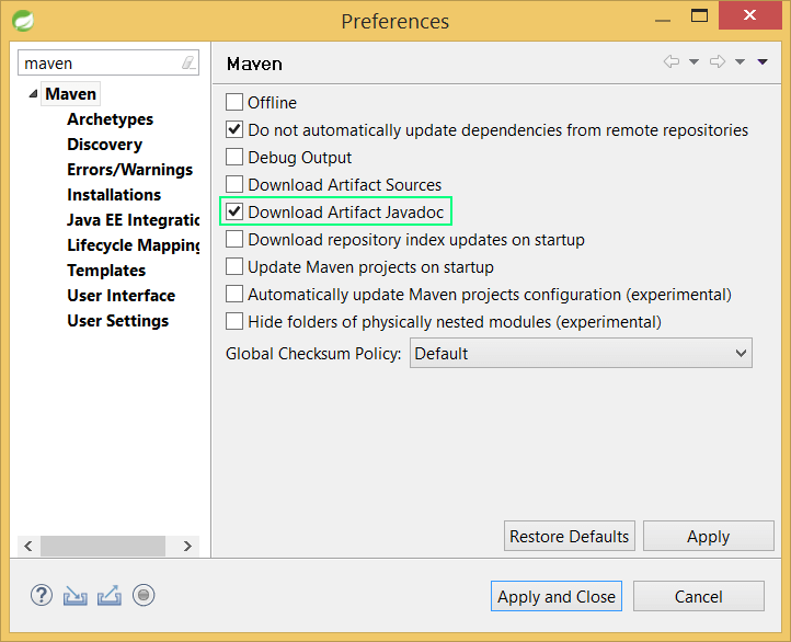Eclipse Maven preferences